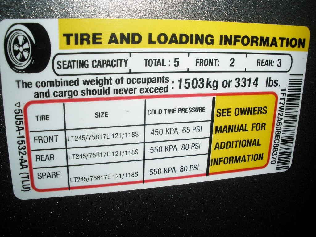 Payload and Tire Loading Door Pillar Sticker