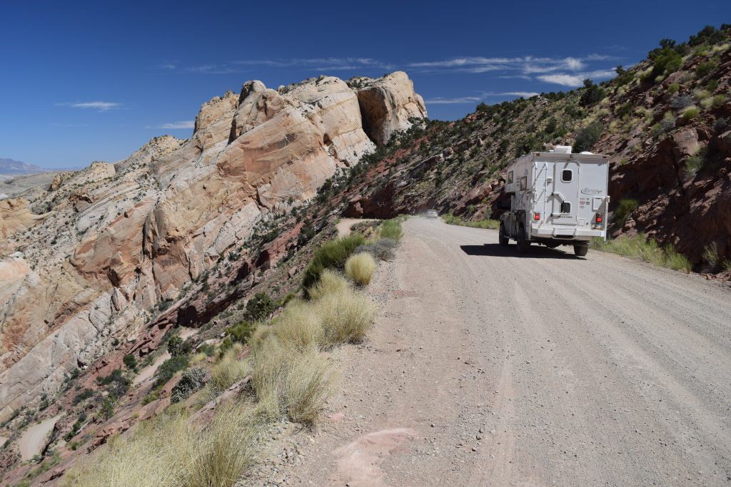 On the Burr Trail Switchbacks - Truck Camper Adventure
